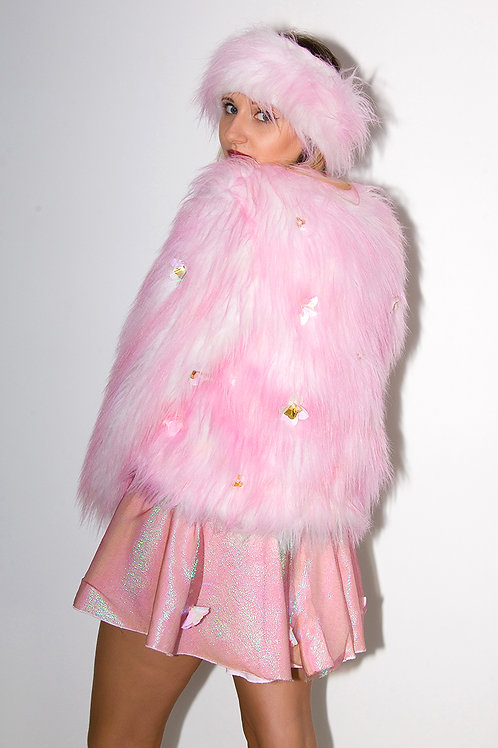 Pink Sequin Faux Fur Coat