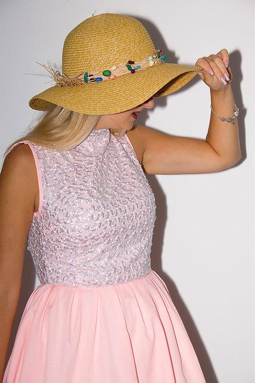 Pink Lace Sequin Dress