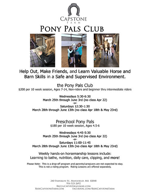 Pony Pals Intro and Preschool Info Sheet