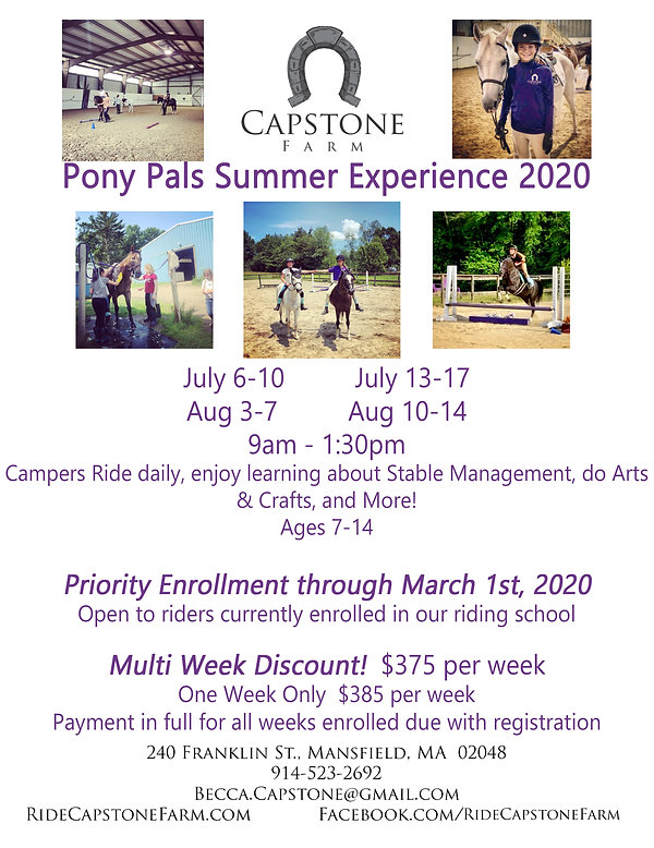 Capstone Farm Summer Camp 2020 Flyer Ear