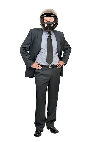 Businessman with helmet isolated in whit