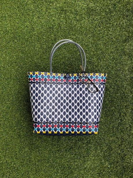 Multi Colour Woven Bag (Blue)