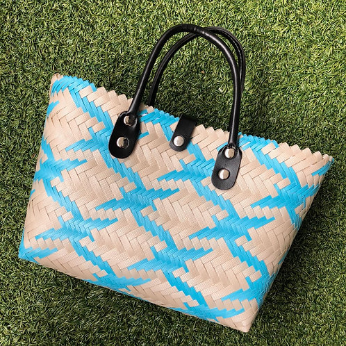 Woven Bag with Faux Leather Handle