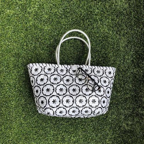 Flower Woven Bag (White/Black)