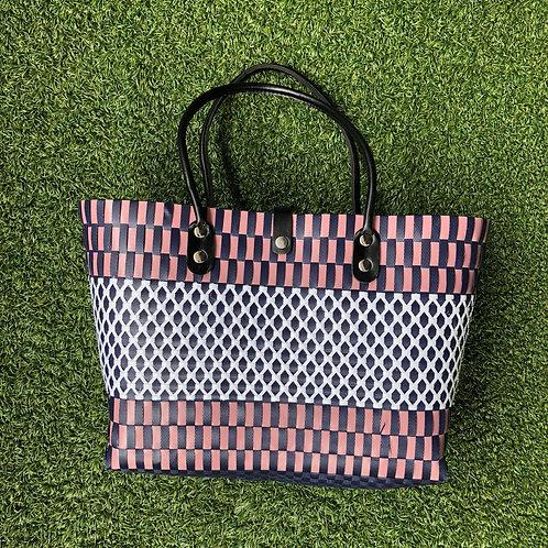 Criss Cross Woven Bag (Black Pink)