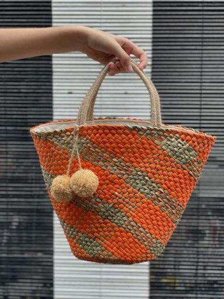 Palawan Straw Bag (Funky Orange)
