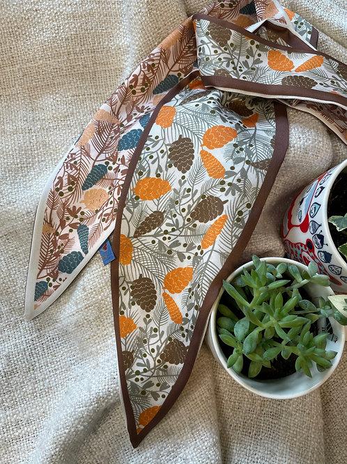 Autumn Acorn Brown White Scarf
