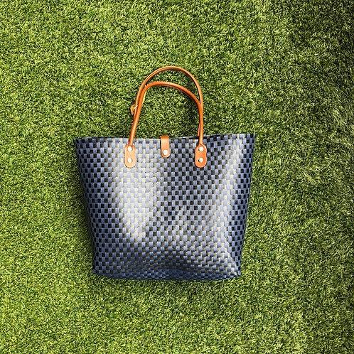 Small Checks Woven Bag (Black/Blue)