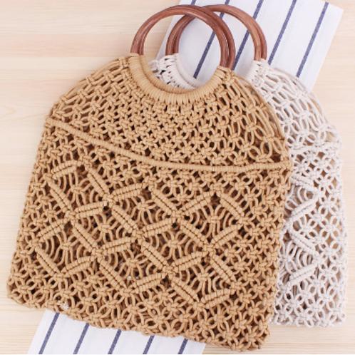 Cotten Crochet Tote with Wooden Handle