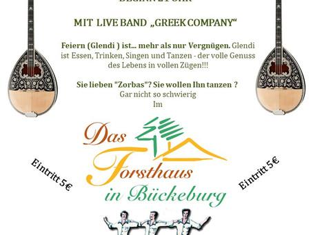"""GRIECHISCHE NACHT im Forsthaus """"HARRL 2""""  31675 BÜCKEBURG Samstag   21-12-2019 Beginn 21 uhr  Mit  l"""