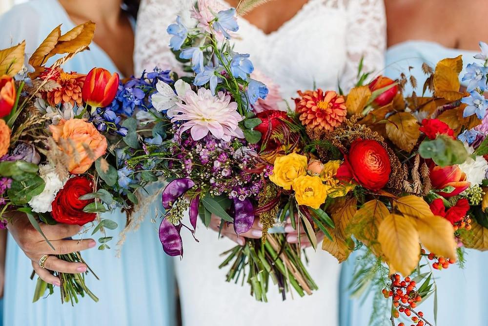Colorful local blooms bridal bouquet Kansas