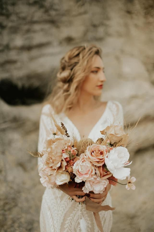 Dried and artificial bridal bouquet neutral color