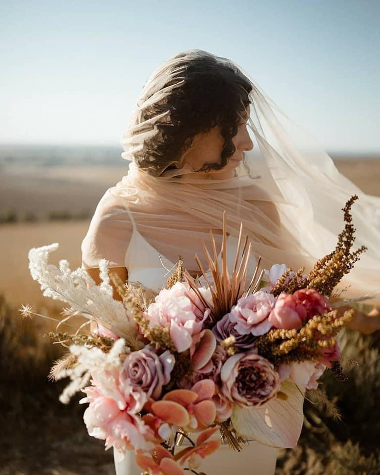 Colorful bridal bouquet dried and artificial Midwest Kansas bride