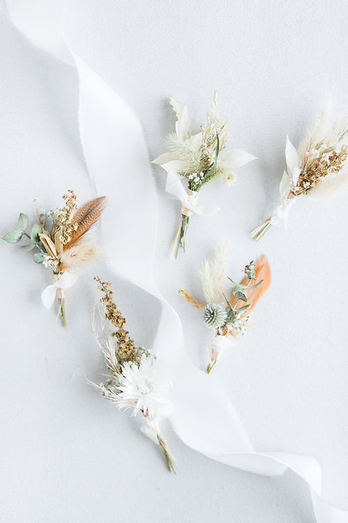 Boutonniere Set of 5: MixedEarth Tones