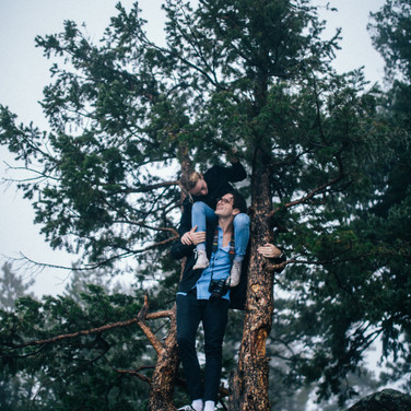 Pierce Gainey and Isabelle Crevier in a tree in Colorado