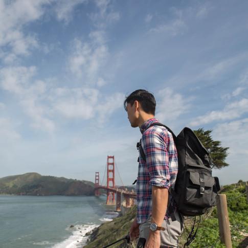 Albert Tong in California by the Golden Gate Bridge
