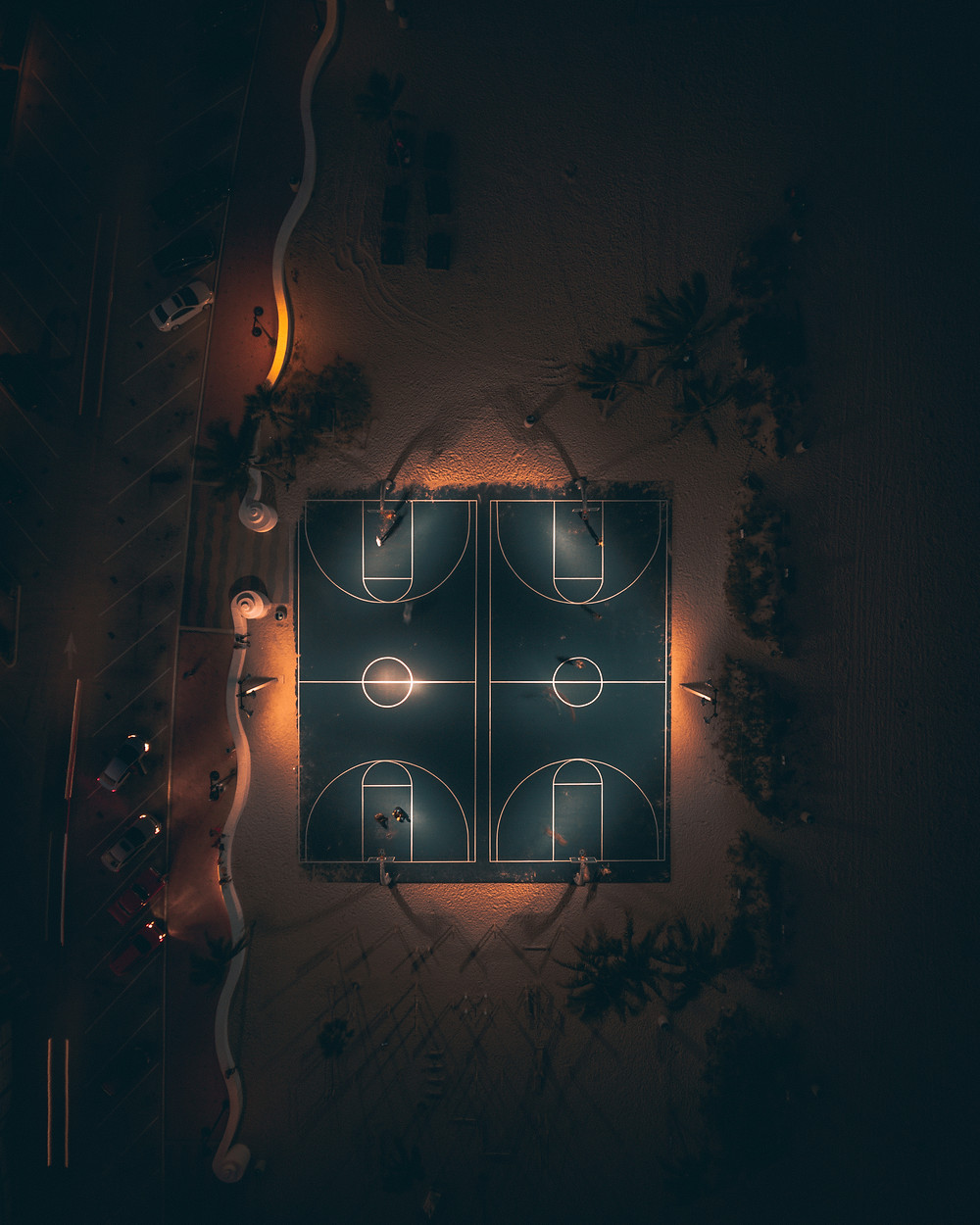 Drone picture of basketball courts in fort lauderdale, FL