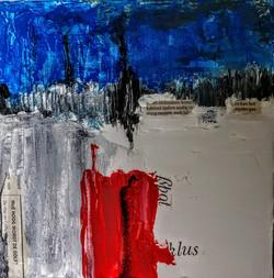 Landschapje in rood en blauw