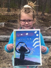 Young Artists Shows Off her Sweet Night Landscape