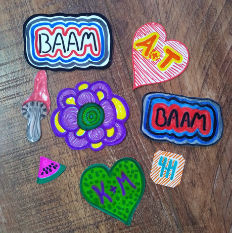 Stickers made during the 4-H and BAAM Create Your Own Sticker Workshop.