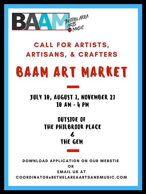 Poster containing information about BAAM's Art Markets