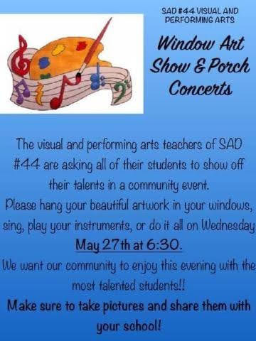 Window Art Show and Porch Concerts