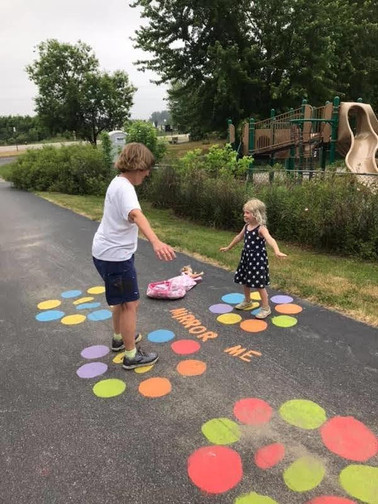 Trying out the new painted activities on the Bethel Pathway