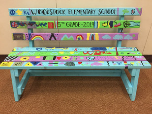 Woodstock Elementary School Painted Bench