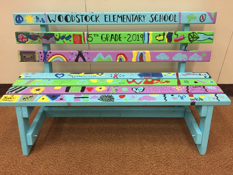 Woodstock Elementary School Painted Bench