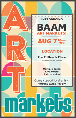 BAAM's second Art Market on August 7th featuring local artists and music.