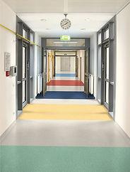 Safety flooring in school corridor
