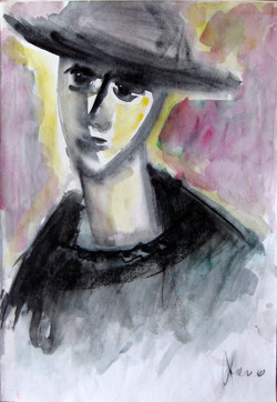 A woman with hat.