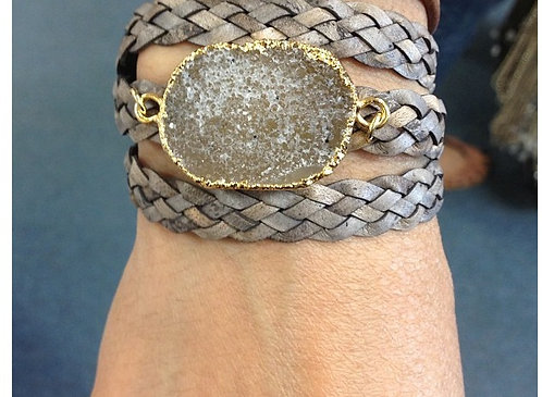 Drusy Leather Wrap