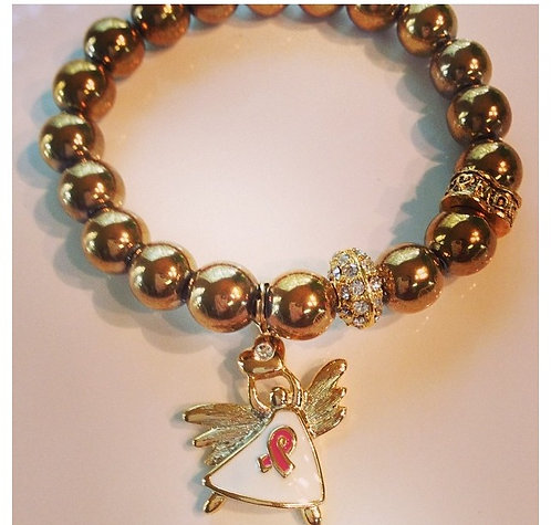 Breast Cancer Awareness Golden Angel