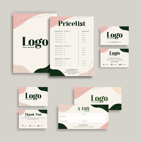 Abstract Shapes Green & Pink Branding Bundle