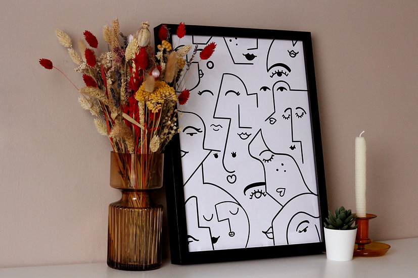 Abstract Faces Line Drawing