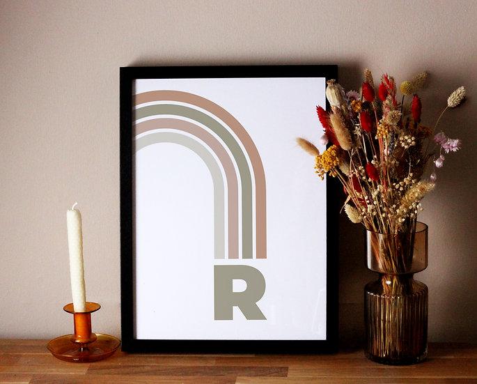 Rainbow Initial Print