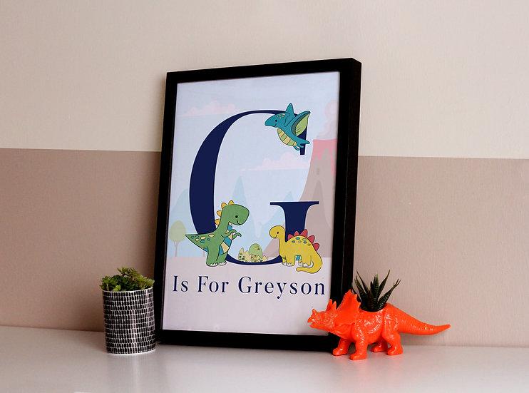Dinosaur Initial Print