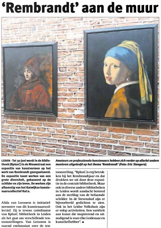 BplusC Nieuwstraat Leiden: 'Rembrandt' aan de muur