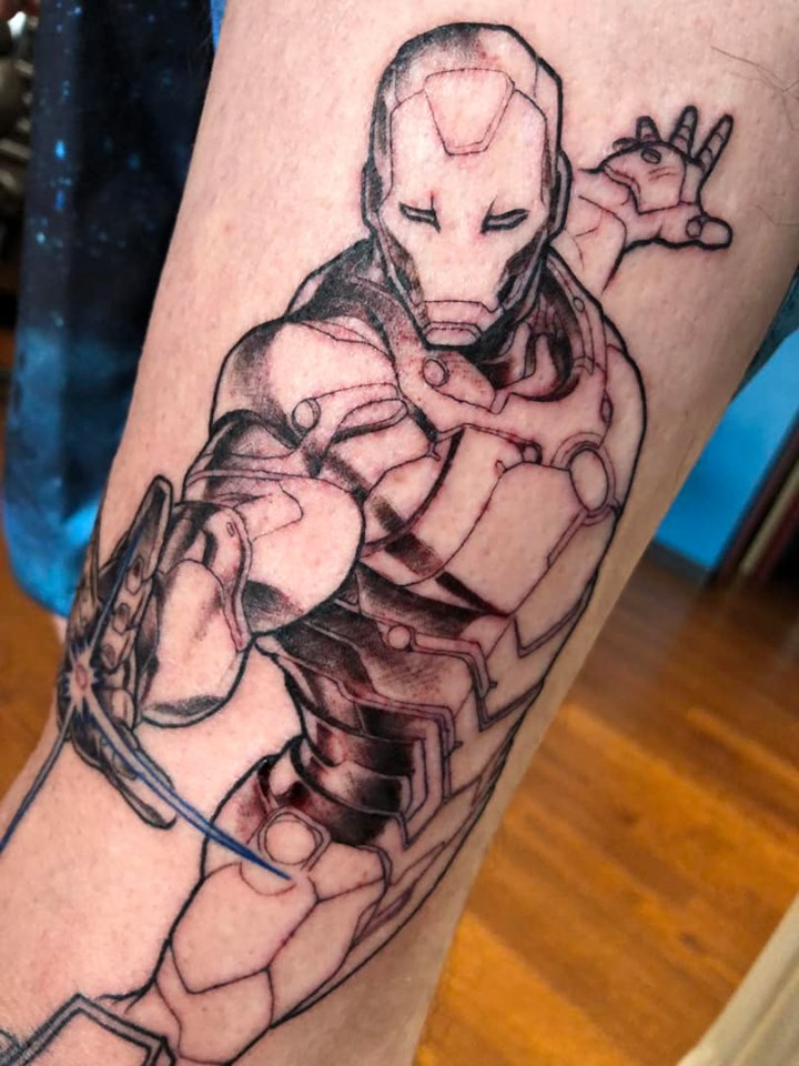 Ironman avengers leg tatoo