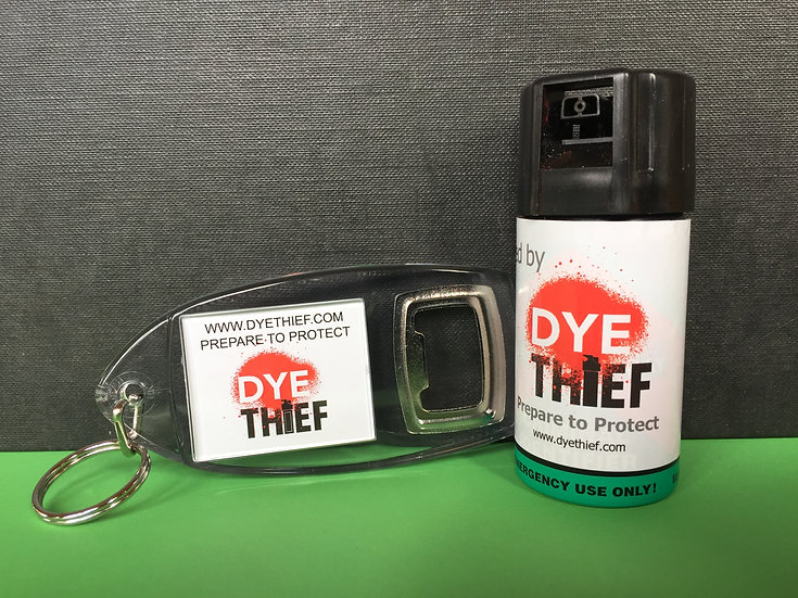 Criminal Identifier, Self Defence Spray & DyeThief Keyring/Bottle Opener