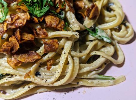 spinach and mushroom carbonara
