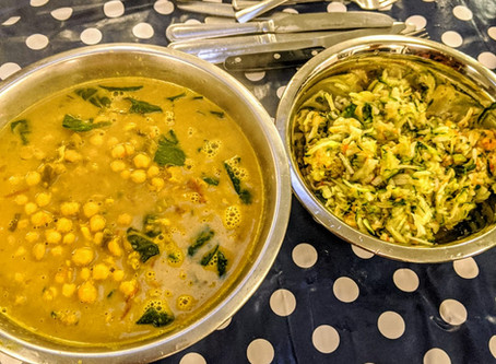 chickpea curry with a quick cucumber chutney