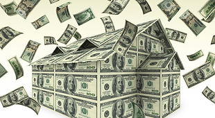 Cash Out Real Estate House Made of Money (Dollar bills)