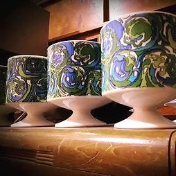 Set of 6 Japanese mod ceramic mugs, date