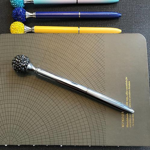 Penna, Diamantboll, SILVER, svart bläck