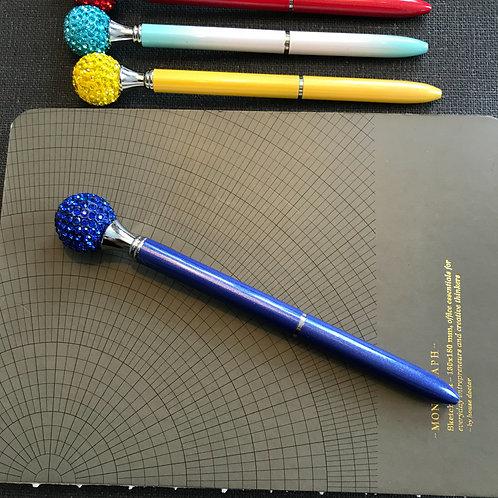 Penna, Diamantboll, BLÅ, svart bläck