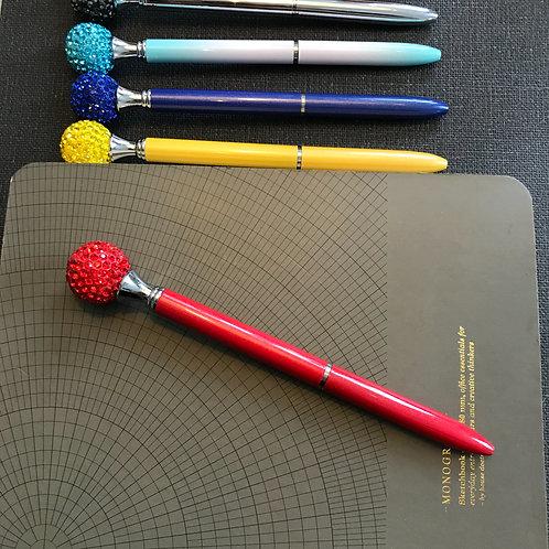 Penna, Diamantboll, RÖD, svart bläck