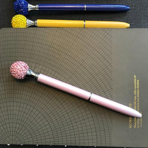 Penna, Diamantboll, ROSA, svart bläck