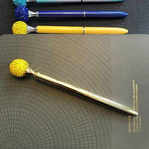 Penna, Diamantboll, GULD, svart bläck